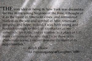 Ralph Ellison Invisible Man Stone Marker by Elizabeth Catlett, Riverside Park