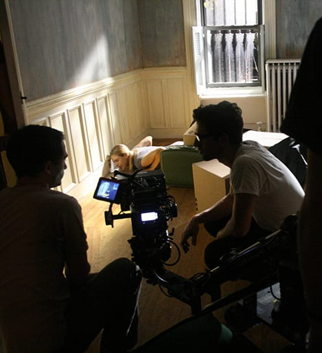 DP Giacomo Belletti and Alexandra Turshen on the set of Behind the Wall