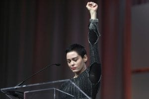 Rose McGowan speaking at Women's Convention in Detroit Oct. 27, 2017.