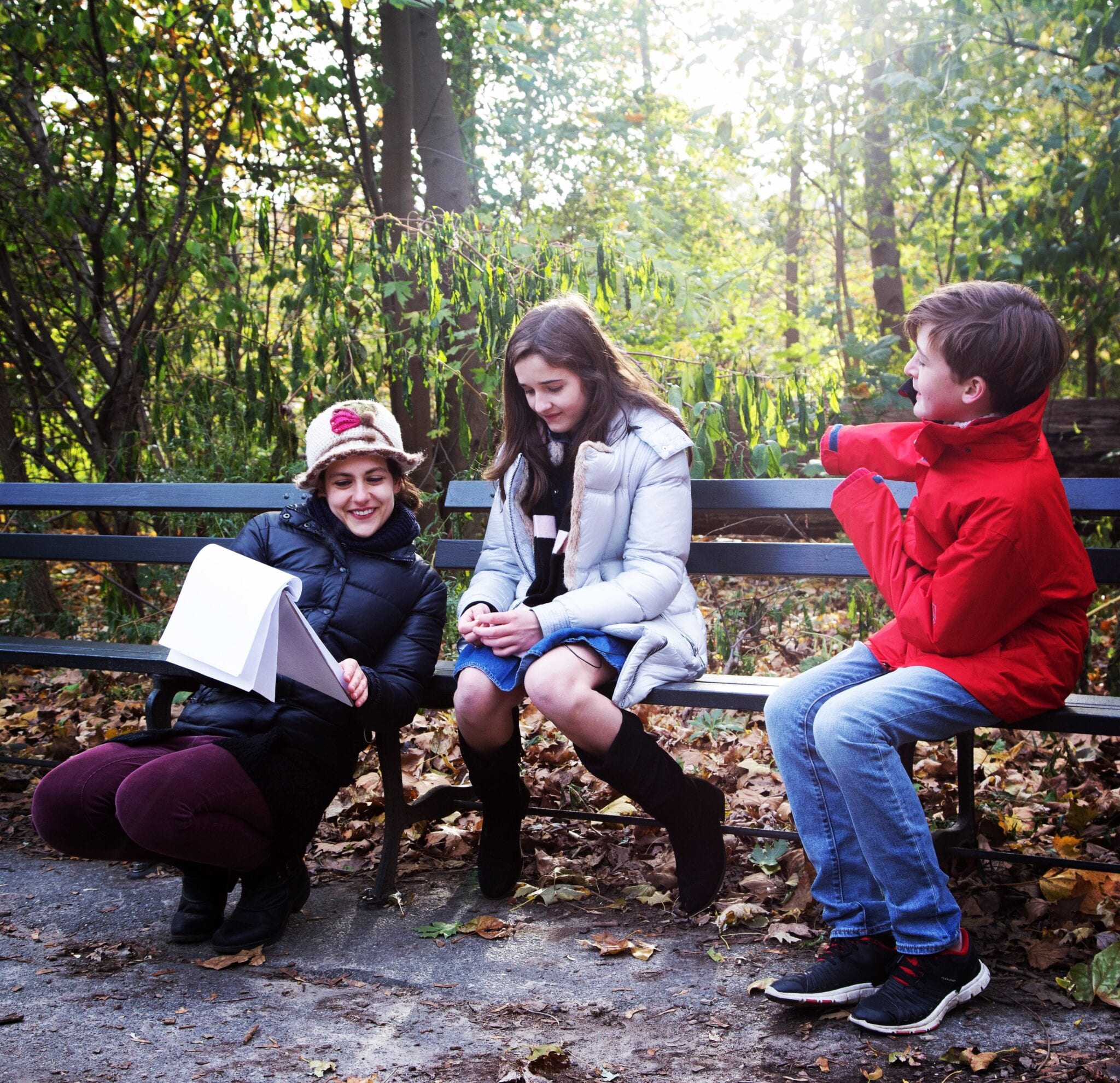 Nicola Rose On Set Of In The Land Of Moonstones With Actors Natalie Keating, 11, And Rand McAvoy, 12. Photo ©Elizabeth Mealey