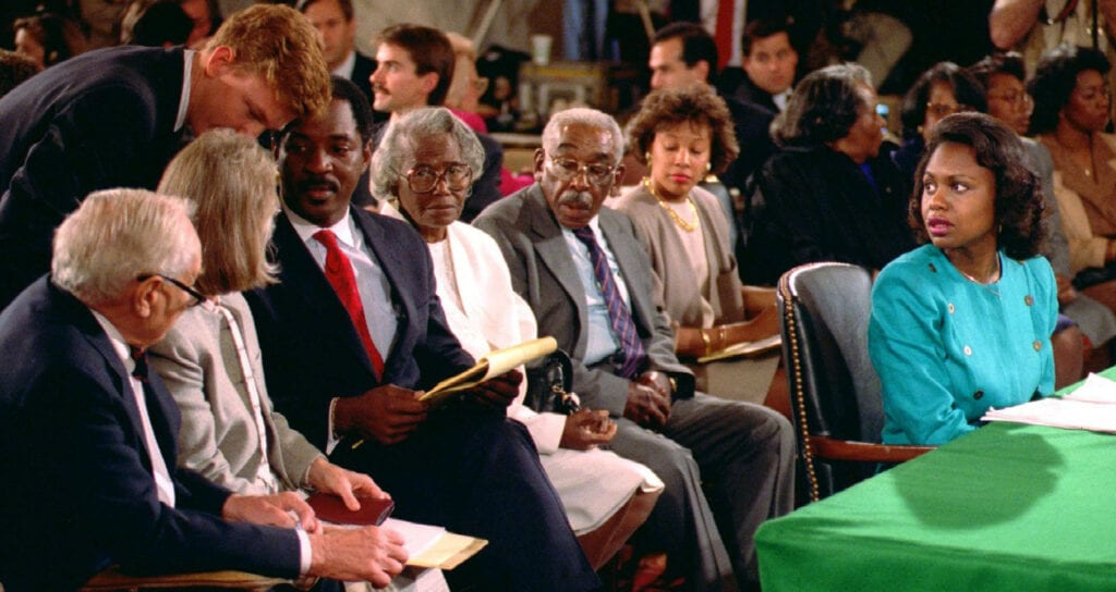 A still from Anita: Speaking Truth to power with Anita Hill during her testimony
