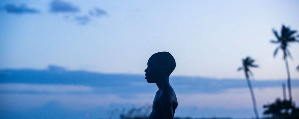 Still from Moonlight, silhouette of the main character